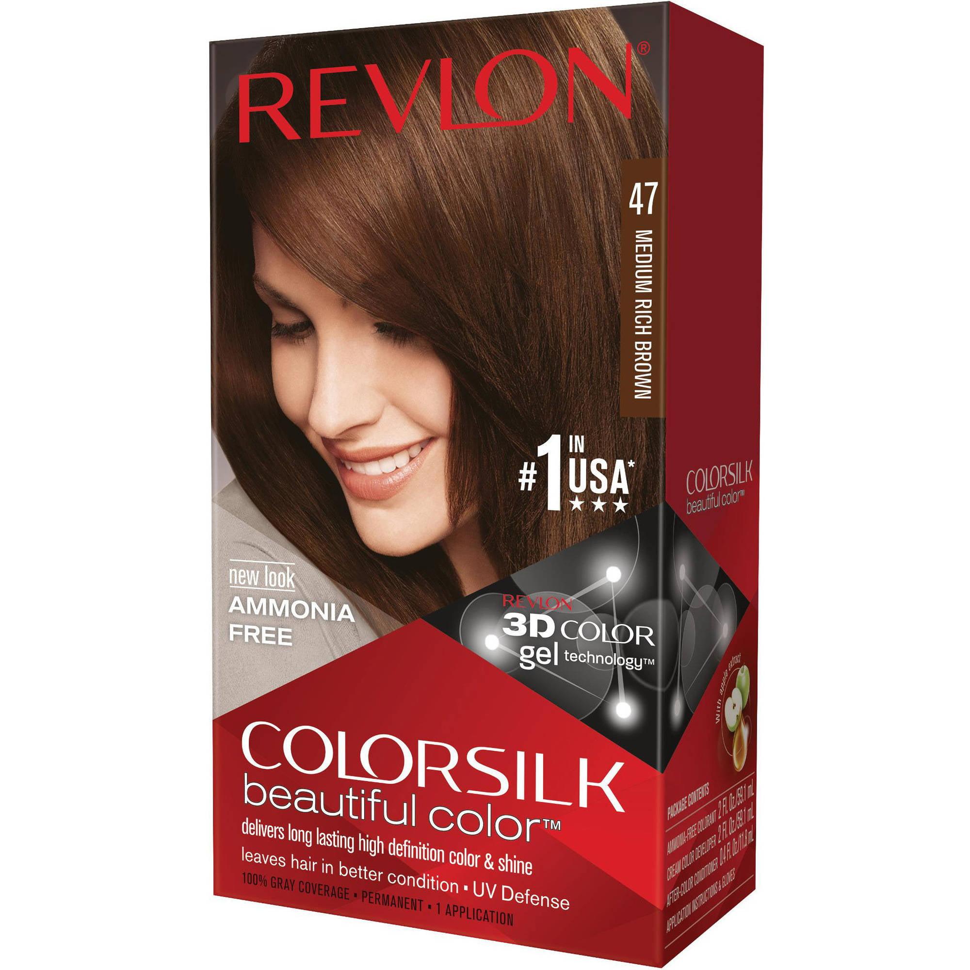 Revlon Colorsilk Beautiful Color Permanent Hair Color, 47 Medium Rich Brown