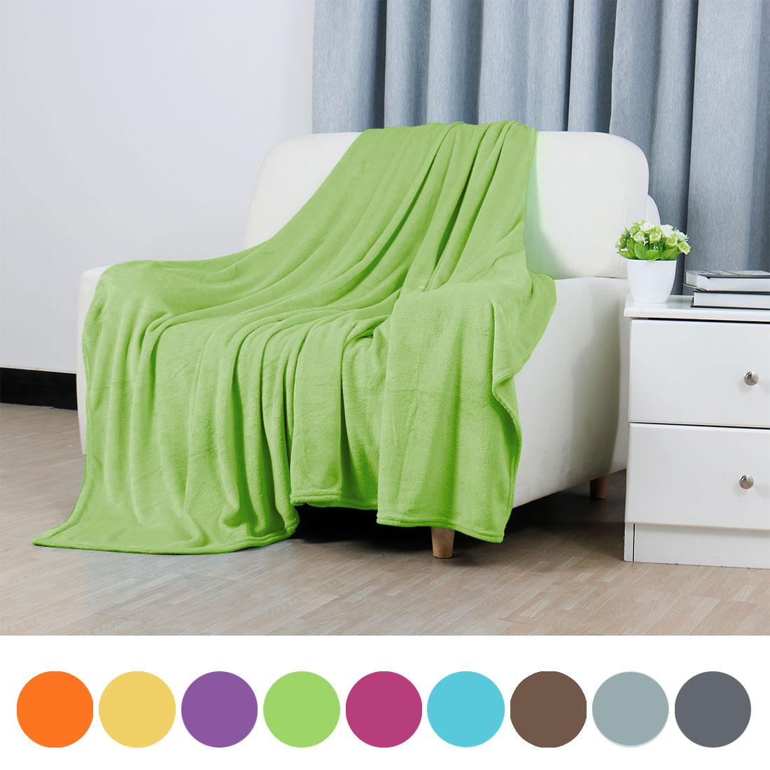 Soft Warm Fleece Blanket Throw Rug Plain Plush Flannel Blanket Queen Camel Color