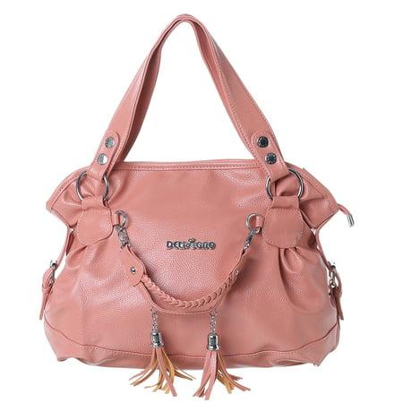 Meigar Women Leather Tassel Handbags Shoulder Bag Party Traveling Bags - Purse Party Companies