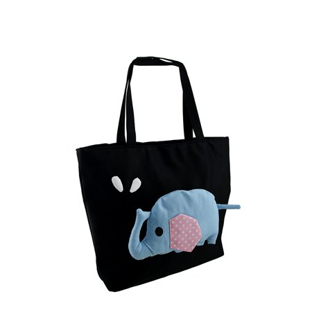 Stuffed Blue Elephant Doll On Black Zippered Tote Bag