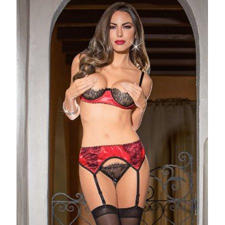 2cd4bce4be Escante - Escante Satin Bra   Garter Set - Walmart.com