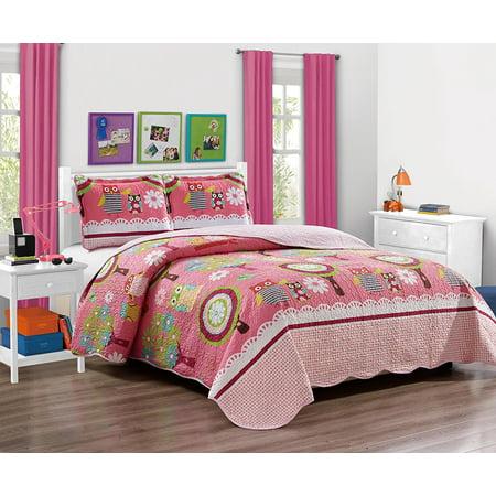 Fancy Linen Full Size 3 Pc Bedspread Quilt Teens/girls Owl Pink Green Yellow New ()
