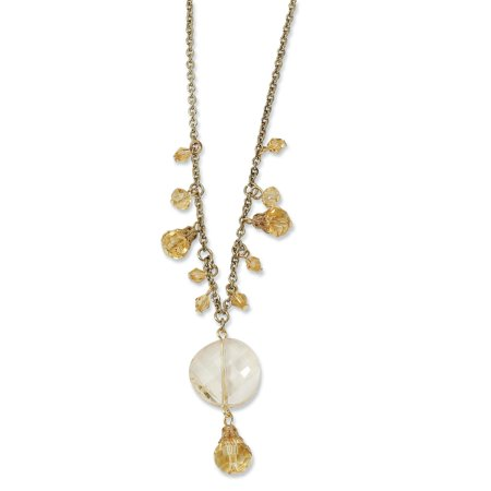 Gold Tone Colorado Champagne Glass Beads 16 Inch Extension Chain Necklace Pendant Charm Fancy Bead Station Gifts For Women For Her mothers day gifts mom wife daughter