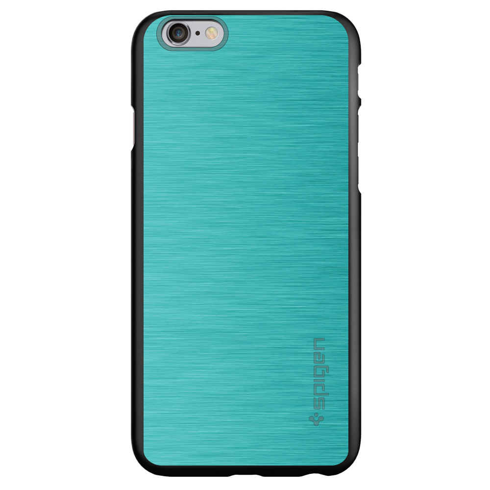 "CUSTOM Black Spigen Thin Fit Case for Apple iPhone 6 PLUS / 6S PLUS (5.5"" Screen) - Teal Stainless Steel Print"