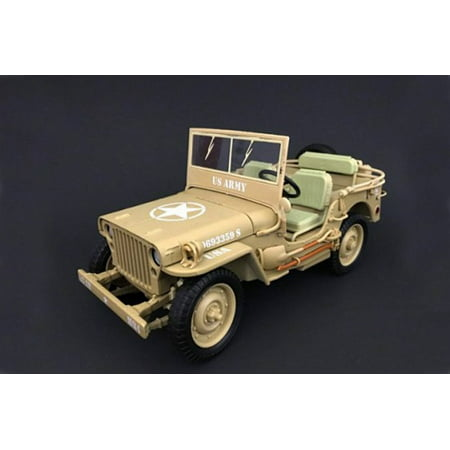 American Army Vehicles - ARMY Jeep Vehicle US ARMY, Desert - American Diorama 77408 - 1/18 Scale Diecast Model Toy Car