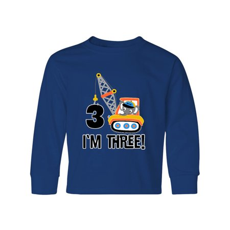 3rd Birthday Construction Truck Boys Youth Long Sleeve T-Shirt