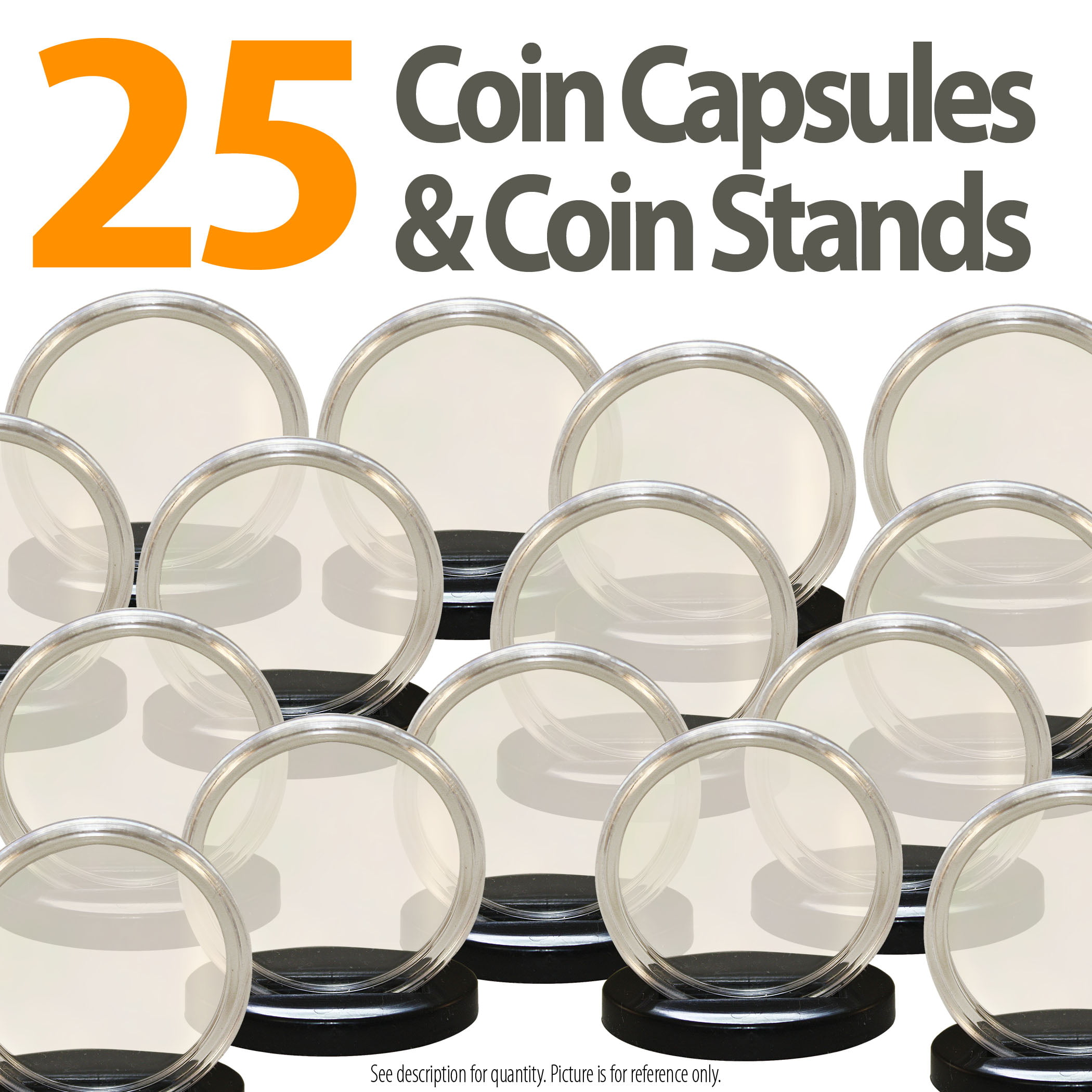 25 Capsules & 25 Stands for Poker CASINO CHIPS Direct Fit Airtight 40.6mm Holder by