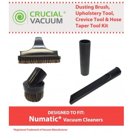 Dusting Brush Crevice Tool - 4PK Tool Kit Fits Numatic Vacuums, Includes Dusting Brush, Upolstery Brush, Crevice Tool & Hose Taper