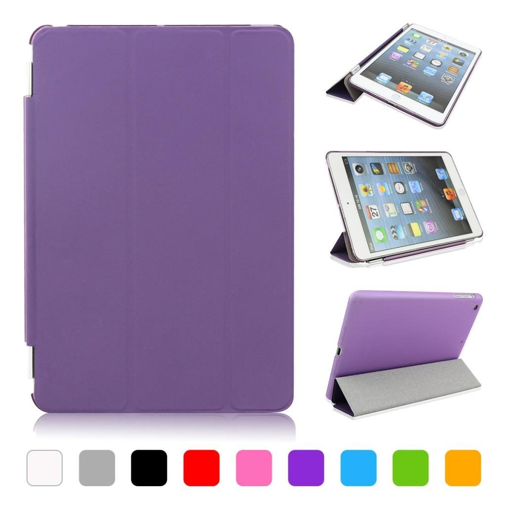 ipad mini case , CoastaCloud Magnetic PU leather Ultra-thin Smart Cover + Hard Back Case For Apple Ipad Mini Smart Case & Cleaning Cloth & Screen Protector & Stylus Touch Pen (Purple) XKZT50G