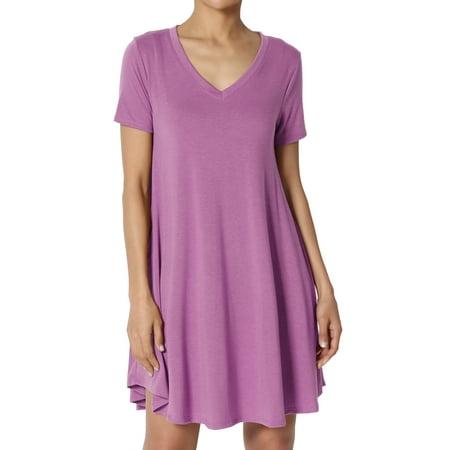 TheMogan Women's PLUS Short Sleeve V-Neck Draped Trapeze Pocket Short Tunic Dress