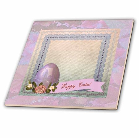 3dRose Pink Easter Egg with Roses on Lace Trimmed Frame, Yellow, Green, and Blue - Ceramic Tile, 6-inch ()