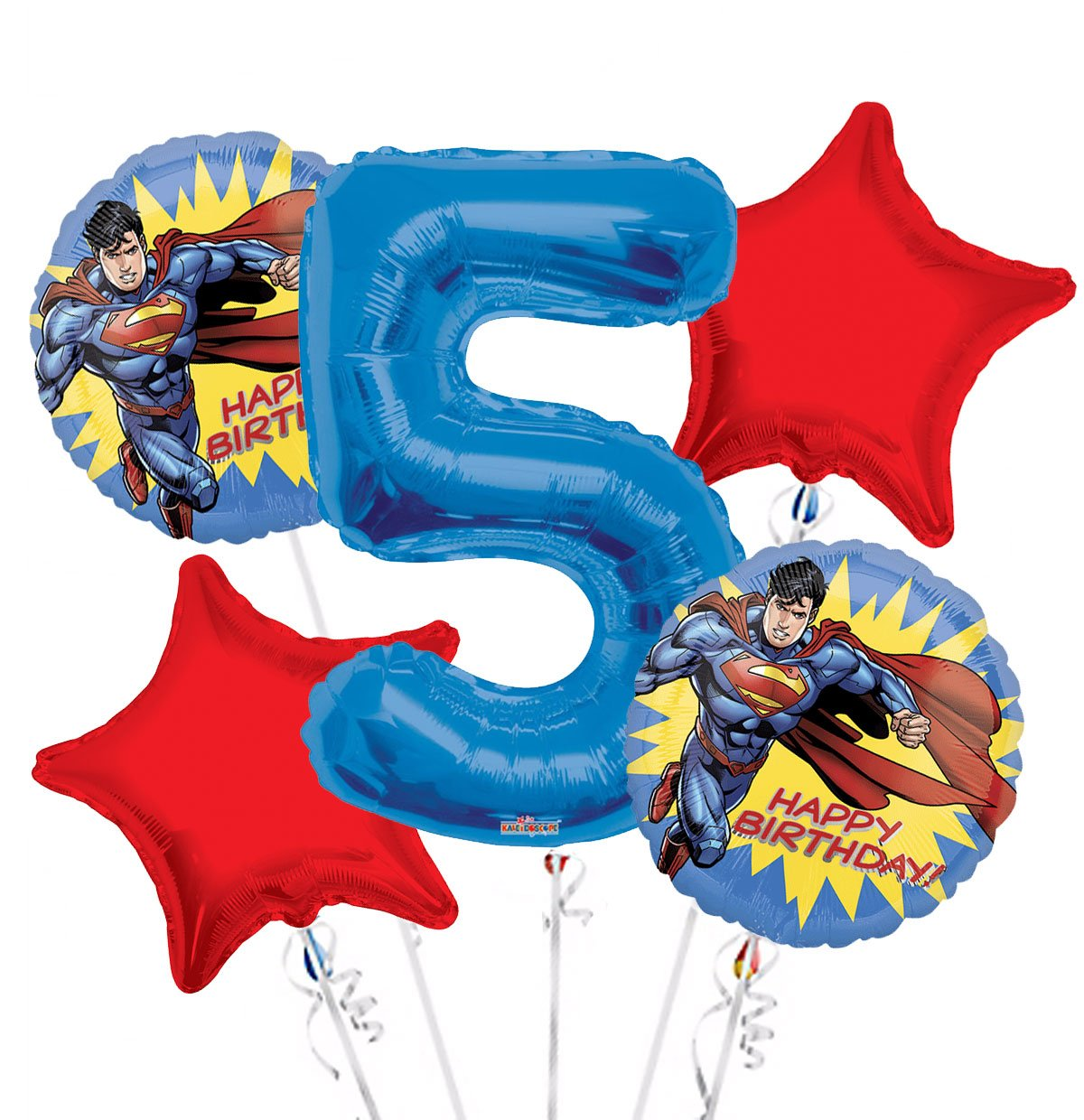 Superman Balloon Bouquet 5th Birthday 5 pcs - Party Supplies, 1 Giant Number 5 Balloon, 34in By Viva Party
