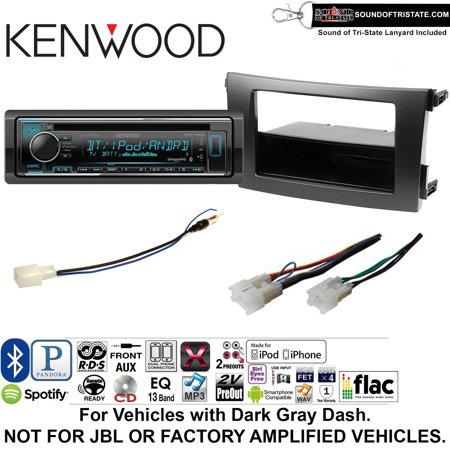 Kenwood KDCX302 Double Din Radio Install Kit with Bluetooth, CD Player, USB/AUX Fits 2009-2013 Non Amplified Toyota Corolla (Dark Gray) and a SOTS lanyard included