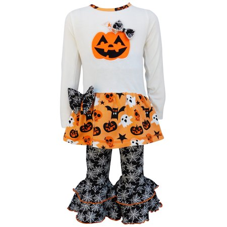 Halloween Jack O' Lantern Top and Spider Web Outfit - Cheryl Halloween Outfit