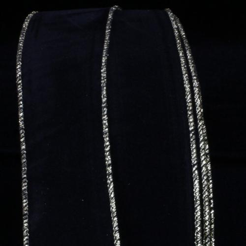 "Indoor/Outdoor Black Velvet with Gold Wire Craft Ribbon 2"" x 50 Yards"