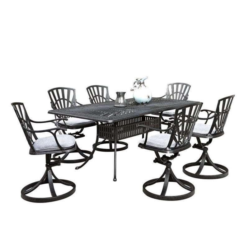 Click here to buy Bowery Hill 7 Piece Patio Dining Room Set with Cushions in Charcoal.