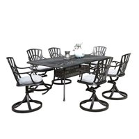 Bowery Hill 7 Piece Patio Dining Set with Cushions in Charcoal