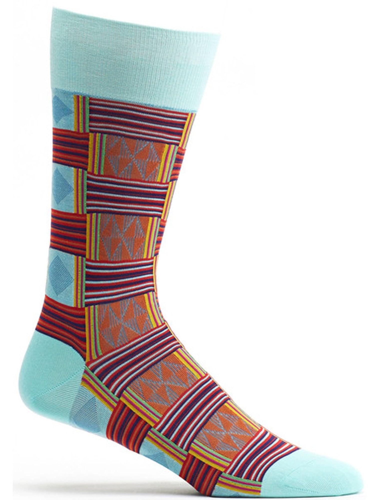 Ozone Socks - Mens Sahara Patchwork Sock - Blue