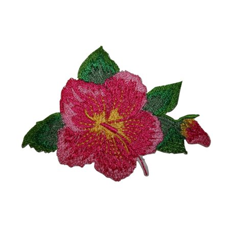 ID 6339 Pink Hibiscus Flower Patch Hawaii Tropical Embroidered Iron On Applique