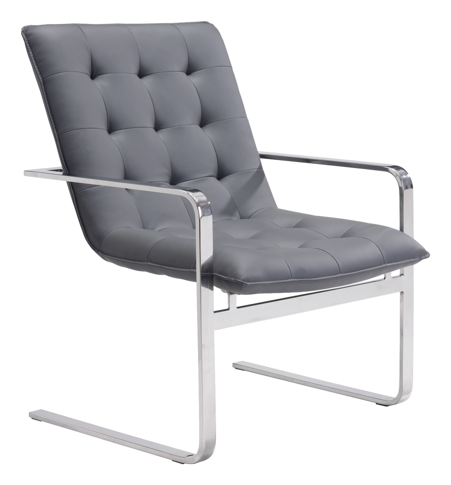 Modern Contemporary Occasional Chair, Gray, Faux Leather