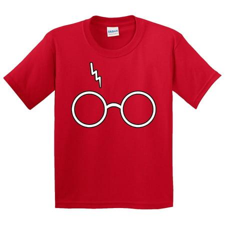 New Way 836 - Youth T-Shirt Harry Potter Glasses Scar Lightning Bolt Small (Harry Potter Spells Lightning Bolt T Shirt)