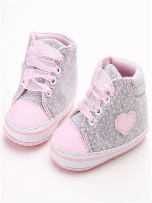 Baby Girl Canvas Shoe Heart shape Shoes Sneaker Anti-slip Soft Sole Toddler