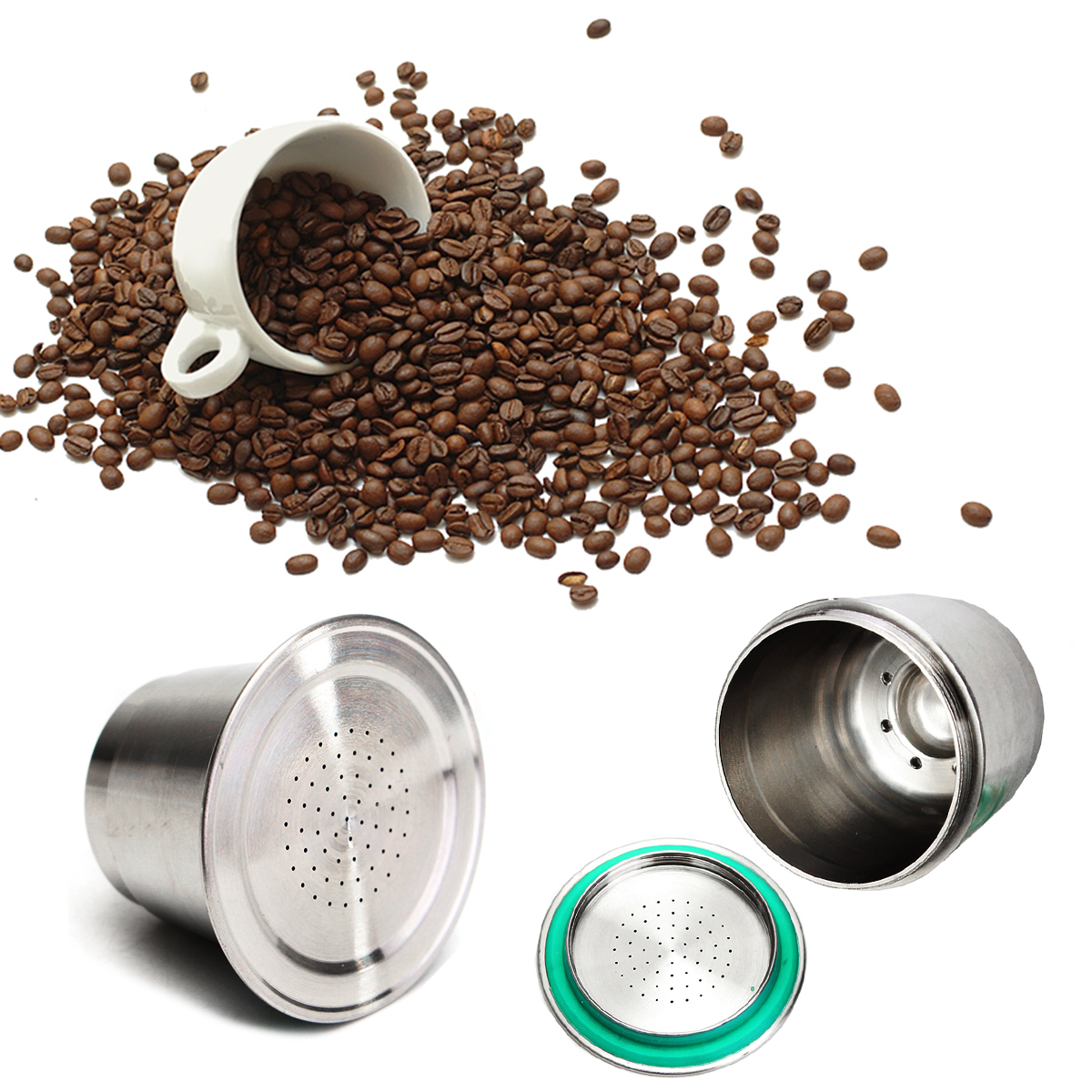5g Stainless Steel Espresso Capsule Reusable Coffee Metal Cup Compatible with Nespresso Machine by