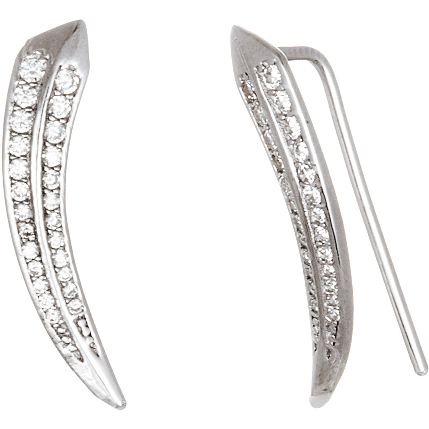 Lesa Michele Cubic Zirconia Sterling Silver Curved Bar Climber Earrings
