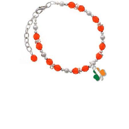 (2-D Irish Flag Shamrock Orange Beaded Bracelet)