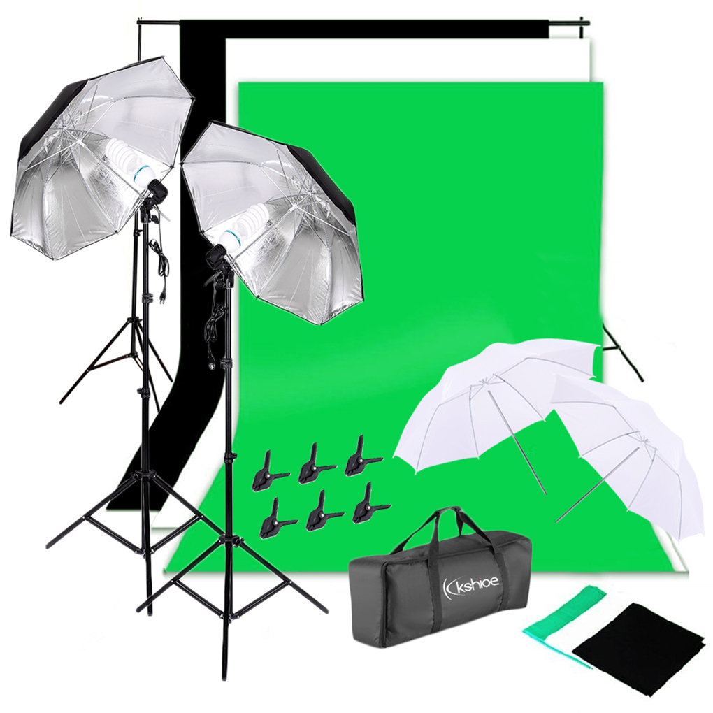 Kshioe Daylight Studio Bulbs Light Stands Backdrop Soft Reflector Umbrellas Set Professional Photography Photo Lighting Kit Walmart Com Walmart Com