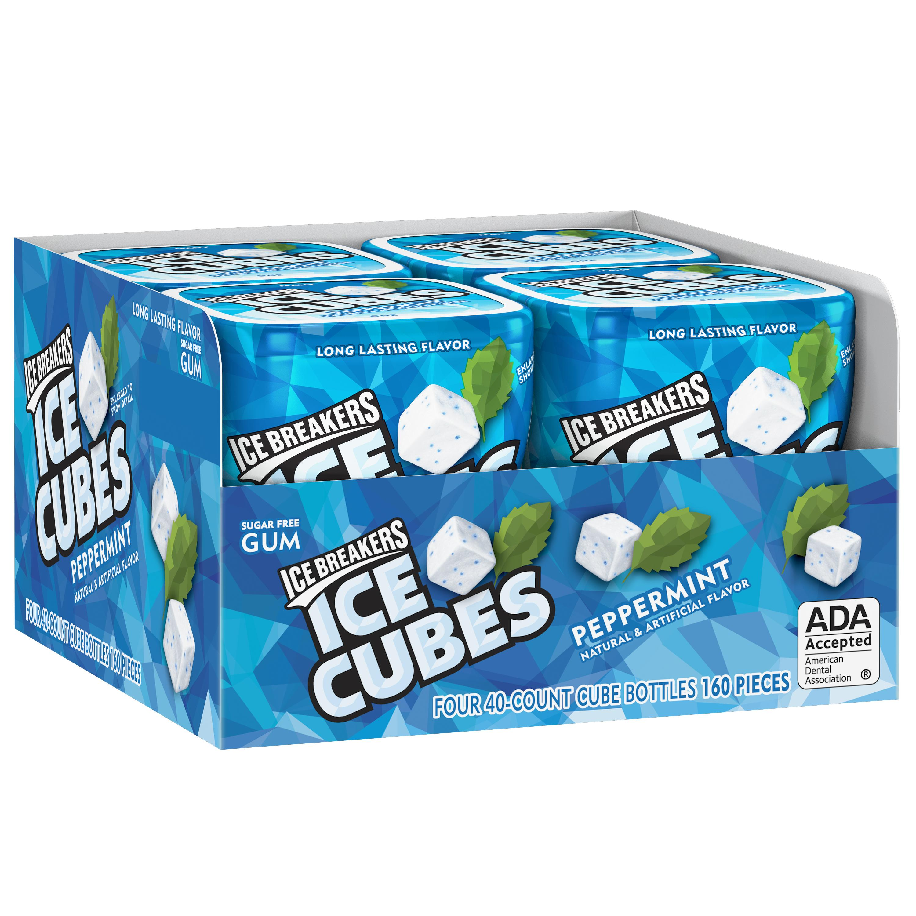 Ice Breakers, Ice Cubes Sugar Free Peppermint Gum, 3.24 Oz (Pack of 4)