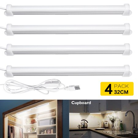 [1/2/4 Pack] LED Closet Light, 20-LED Motion Sensor Night Light Under Cabinet Light Bar, USB Operated for Closet/Drawer/Cupboard/Pantry Stair