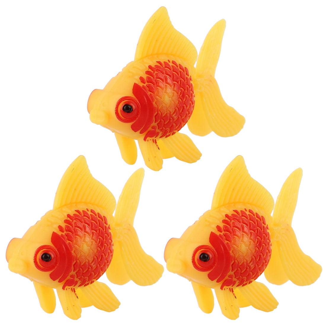 Unique Bargains 3pcs Fish Tank Aquarium Floating Swimming Goldfish Decoration Yellow Red