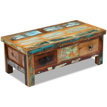 vidaXL Coffee Table Drawers Solid Reclaimed Wood 35.4