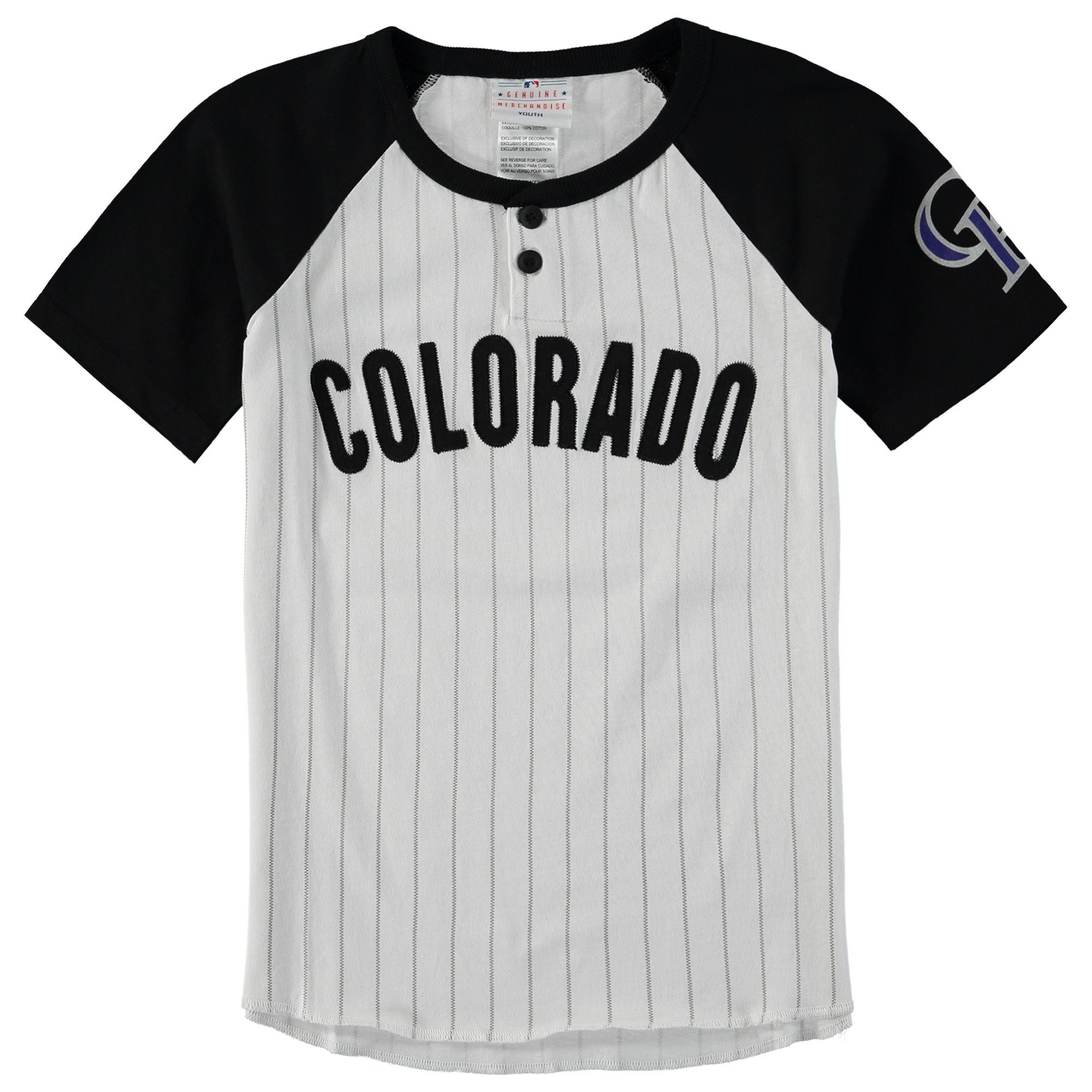 Colorado Rockies Youth Game Day Jersey T-Shirt - White/Black