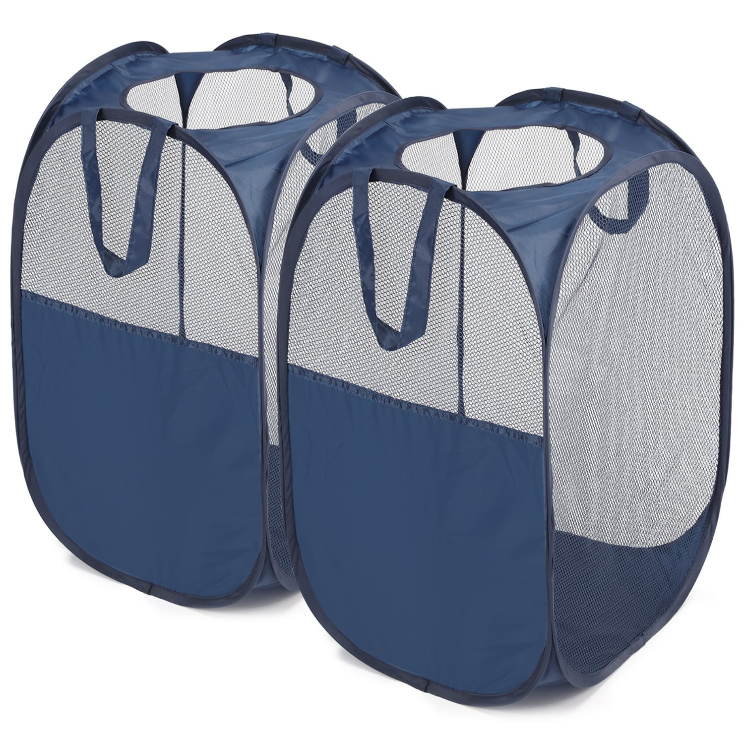 Pop-Up Hamper, Magicfly Foldable Pop-Up Mesh Hamper with Reinforced Carry Handles, Laundry Mesh Basket Blue, Pack of 2