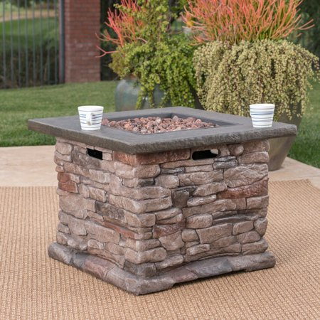 Christopher Knight Home Stonewall Outdoor Propane Square Fire Pit with Lava Rocks by ()