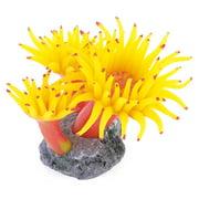 THZY Concrete Base Silicone Coral Anemone Aquarium Plant Decoration, Yellow
