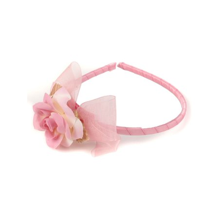 Girls White Flower Organza Bow Narrow Headband