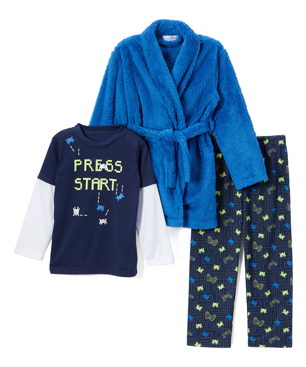 Freestyle Revolution Boy's 3 Piece Pajama Sleep Set With Robe (Little Boy & Big Boy)