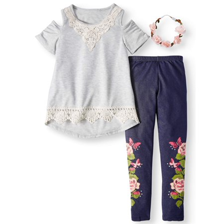 Crochet Tunic & Knit Denim Legging, 2-Piece Outfit Set with Flower Headband (Little Girls & Big Girls) - Ninja Girl Outfits