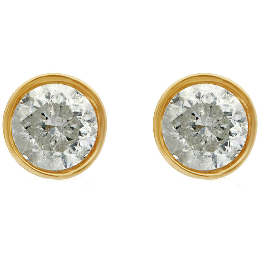 1/4 Carat T.W. Round Diamond 14kt Yellow Gold Bezel Stud Earrings with Gift Box, IGL Certified