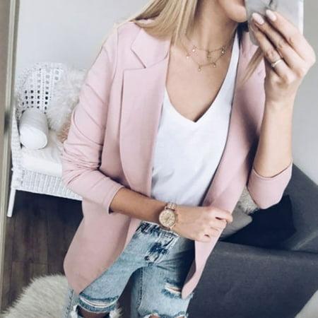Women Slim OL Suit Casual Blazer Jacket Coat Tops Outwear Long Sleeve Plus (Suit Sleeve)