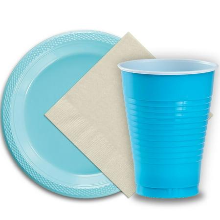 50 Light Blue Plastic Plates (9