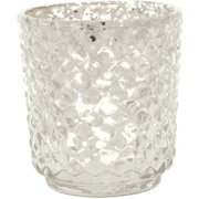 Luna Bazaar Vintage Mercury Glass Vase and Candle Holder (3-Inch, Small Rachel Design, Silver) - Decorative Flower Vase for Home Décor, Party Decorations and Wedding Centerpieces