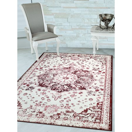 Woven Trends LaCasa 048 Vintage Medallion Traditional Oriental Persian Area Rug with Non-Slip/Skid Rubber Back Carpet - Red Carpet For Sale