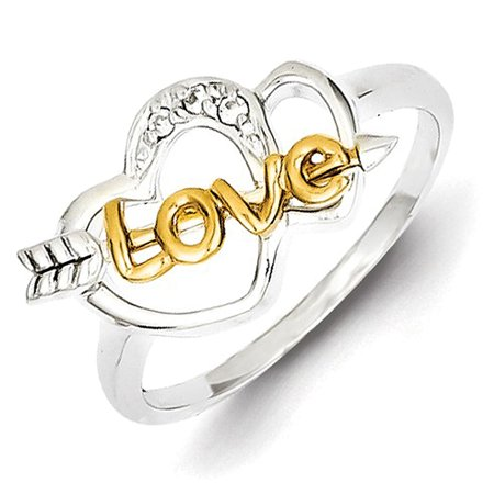 Sterling Silver & Vermeil CZ Love & Hearts Ring Cubic Zirconia Vermeil Ring
