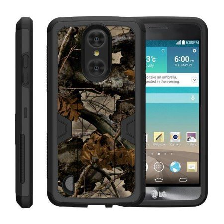 TurtleArmor ® | For LG LV3 | LG Aristo | LG K8 (2017) | LG Phoenix 3 | LG Fortune [Shockproof Case] Protective Armor Hard Impact Case Kickstand Holster Belt Clip - Tree Leaves