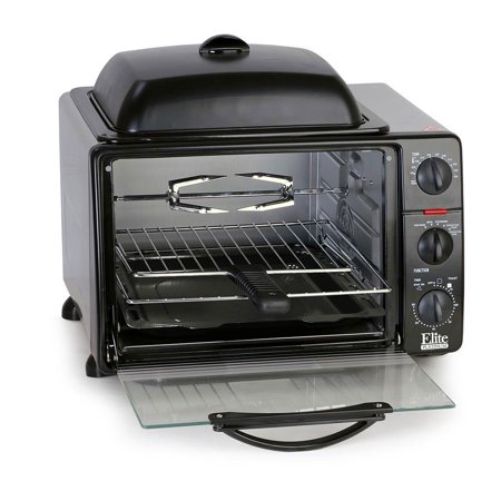 Elite Cuisine ERO-2008S Pro 23 Liter Toaster Oven w/Rotisserie & Grill/Griddle ()