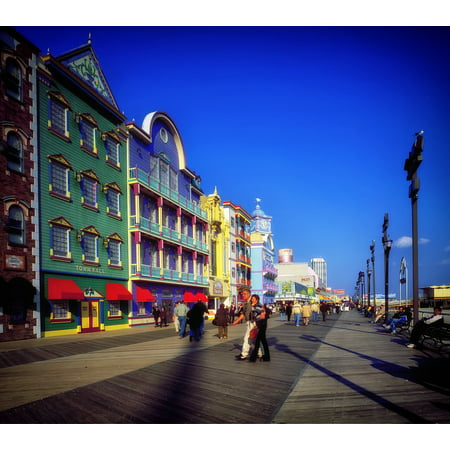 LAMINATED POSTER New Jersey Boardwalk Atlantic City Buildings Shops Poster Print 24 x 36